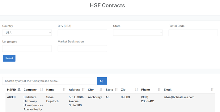 Screenshot of the HSF network search page where relocation customers can find a fellow network member by searching the HSF database.