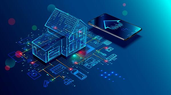 A digital illustration of a circuit board where electric green and blue data are jumping off the circuit board in the shape a house. To the right of the house is a smartphone with an arrow pointing to the top left.