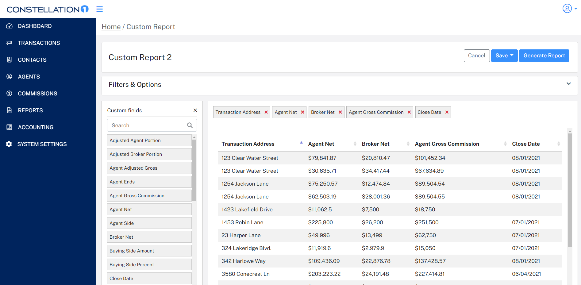 Screenshot of customizable drag-and-drop reports for visualizing key commissions data in the Constellation1 Commissions app