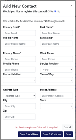 """Alt text A view of the """"Add New Contact"""" modal within the Constellation1 CRM solution showing the various fields agents would fill in to add a new contact into their CRM from either their mobile device or desktop."""