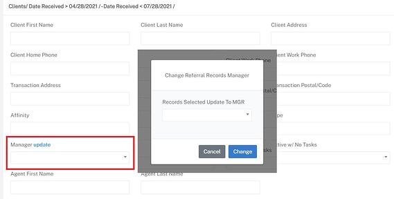 Screenshot of the modal to update the relocation manager for a specific real estate relocation lead.