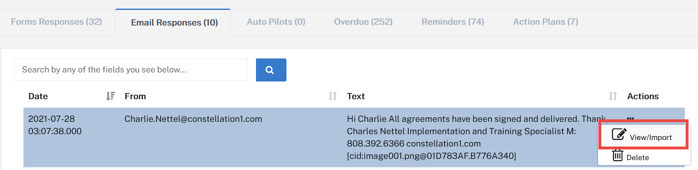 Screenshot of the Email Responses tab of a relocation management app showing how to import correspondence from a lead into the system.