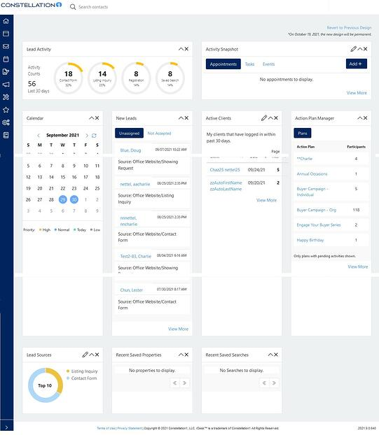 The Constellation CRM dashboard layout, showing various widgets users can customize and rearrange according to their preferences