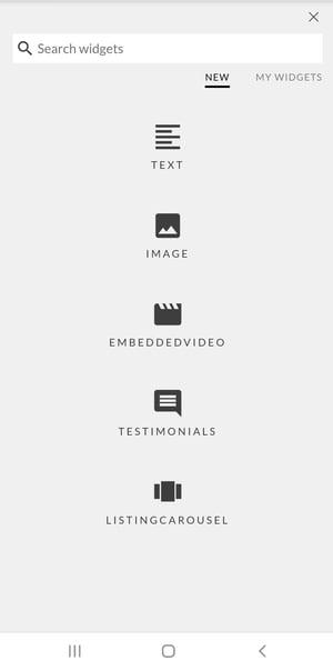 Constellation1 Websites - Add widgets