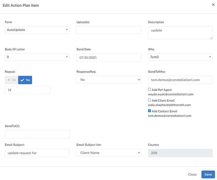 Screenshot of the modal for updating an action plan inside the Constellation1 Relocation application.
